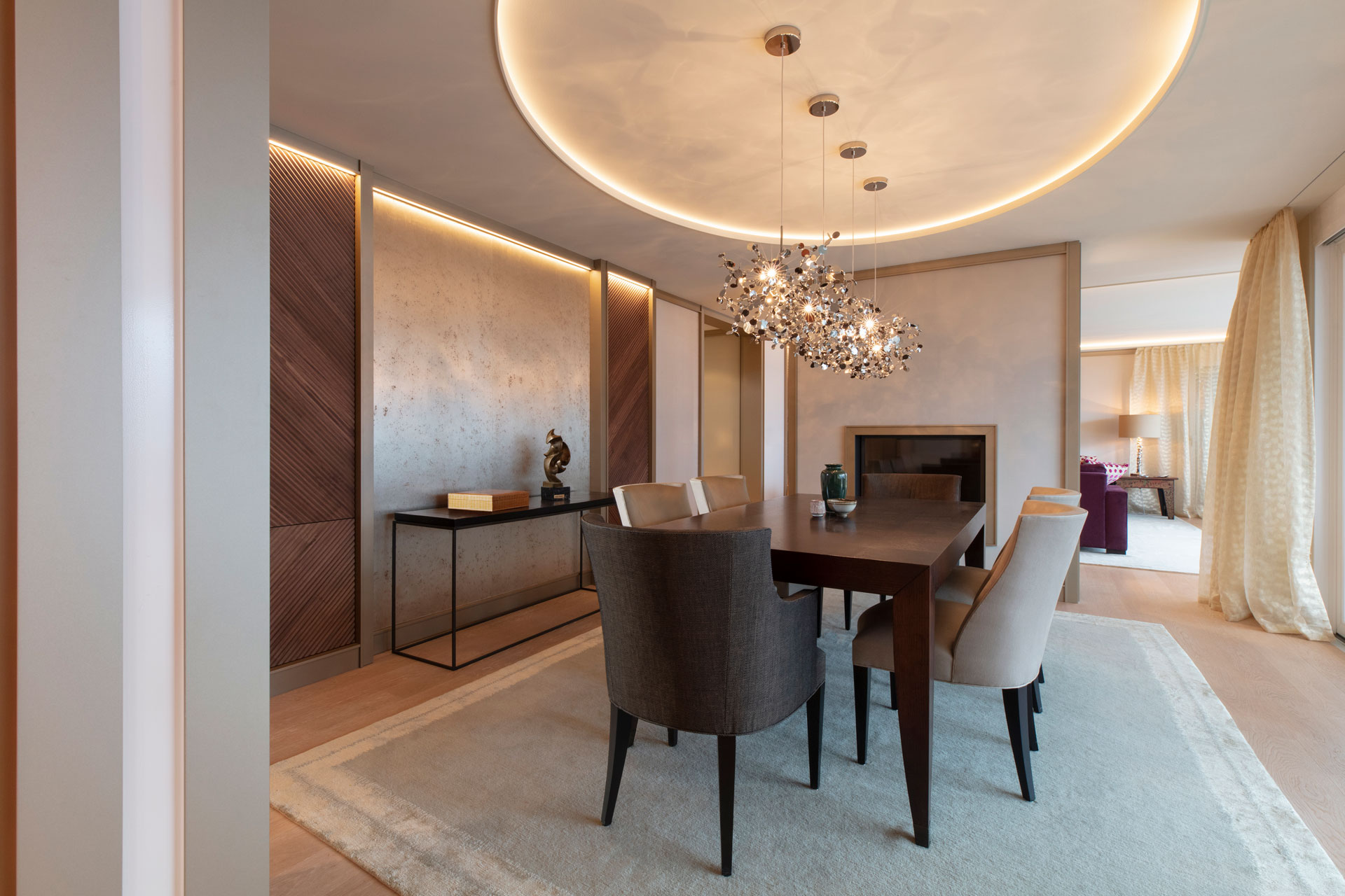 Scheuber Esszimmer Innenarchitektur Beleuchtung Tapete Vorhänge