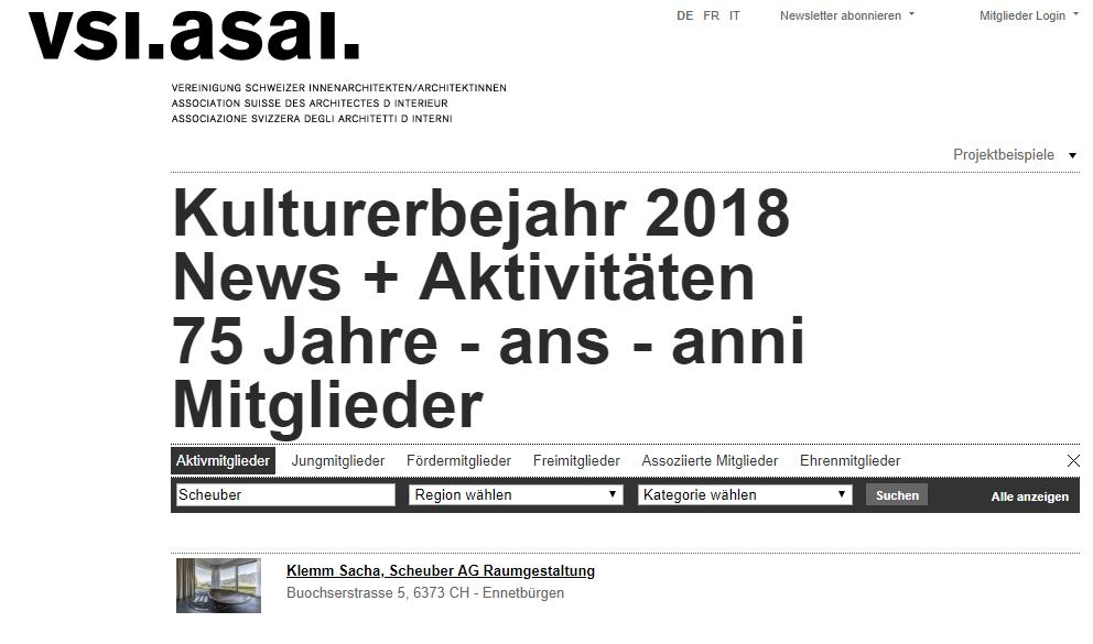 Scheuber VSI-ASAI Innenarchitektur Verband